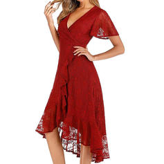 Lace/Solid Short Sleeves A-line Knee Length Party Dresses