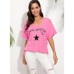 Print Figure V-Neck Short Sleeves Casual T-shirts