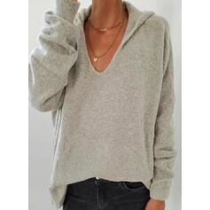 Einfarbig Mit Kapuze Freizeit Pullover