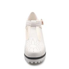 Frauen Kunstleder Keil Absatz Geschlossene Zehe Keile mit Schnalle Schuhe