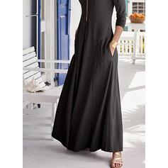 Solide Lange Mouwen A-lijn Schaatser Zwart jurkje/Elegant Maximum Jurken