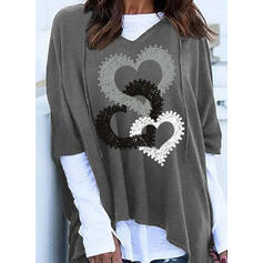 Print Color Block Heart Long Sleeves Hoodie