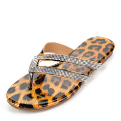 Women's Leatherette Flat Heel Sandals Flip-Flops Slippers With Rhinestone shoes