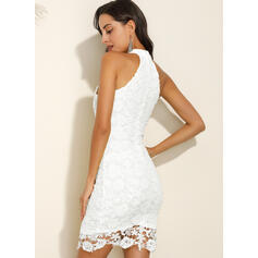 Lace/Solid Sleeveless Sheath Above Knee Sexy/Party Dresses