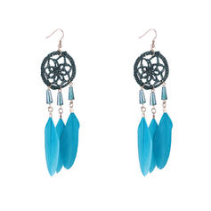 Vintage Alloy Feather With Feather Women's Fashion Earrings