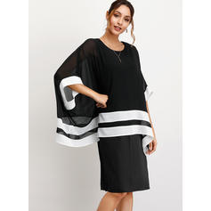 Color-block 3/4 Sleeves/Batwing Sleeves Sheath Knee Length Casual/Elegant Dresses