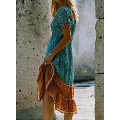 Nadrukowana Krótkie rękawy W kształcie litery A Casual/Boho/Wakacyjna Midi Sukienki