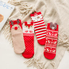 Women's Merry Christmas Snowman Reindeer Santa Cotton Stockings Christmas Socks (Set of 4)