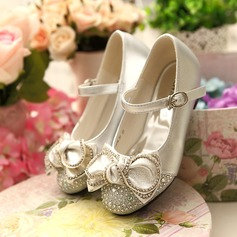 Girl's Leatherette Low Heel Closed Toe Flower Girl Shoes With Bowknot Buckle