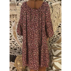 Print Long Sleeves Shift Knee Length Casual Dresses