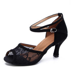Women's Suede Mesh Heels Latin Dance Shoes