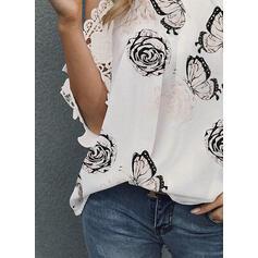 Print Floral Animal Print Lace Cold Shoulder 3/4 Sleeves Casual Elegant Blouses