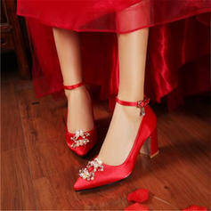Femmes Satiné Talon bottier Escarpins avec Perle d'imitation chaussures