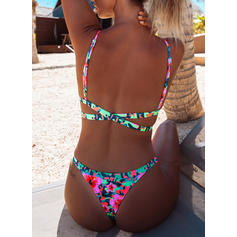 Floral Low Waist Strap Sexy Colorful Bikinis Swimsuits