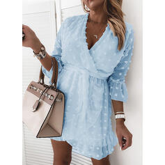 Solid 3/4 Sleeves Sheath Above Knee Casual/Elegant Wrap Dresses