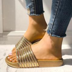 Women's PVC Flat Heel Sandals Peep Toe With Rhinestone shoes