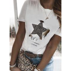Nadruk Wytłaczany Okrągły dekolt Krótkie rękawy T-shirty
