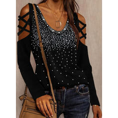 Sequins Cold Shoulder Long Sleeves Sexy Blouses