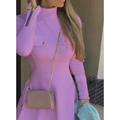 Jednolita Długie rękawy W kształcie litery A Nad kolana Elegancki Łyżwiaż Sukienki