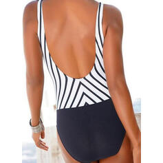 Stripe Splice color Strap V-Neck Sexy One-piece Swimsuits
