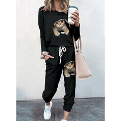 Animal Print Sporty Casual Plus Size Tee & Pants Two-Piece Outfits Set