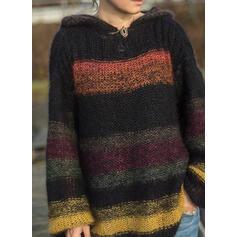 Bloque de Color Capucha Casuales Suéteres
