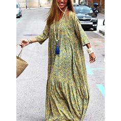 Print 3/4 Sleeves Shift Casual/Vacation Maxi Dresses