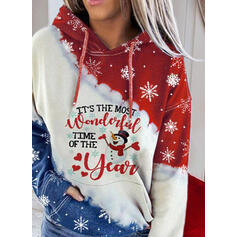Print Color Block Figure Long Sleeves Christmas Sweatshirt