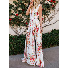 Print/Floral Sleeveless A-line Party Maxi Dresses