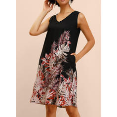 Print Sleeveless Shift Knee Length Casual/Vacation Dresses