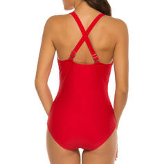 Solid Color Patchwork V-Neck Sexy One-piece Swimsuits