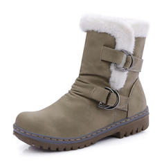 Women's PU Flat Heel Mid-Calf Boots Snow Boots With Buckle shoes