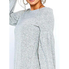 Solid Puff Sleeves Shift Above Knee Casual Dresses