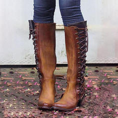 Női PU Chunky sarok Csizma -Val Cipzár Lace-up cipő