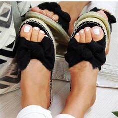 Femmes Suède Talon plat Sandales À bout ouvert Chaussons avec Bowknot chaussures