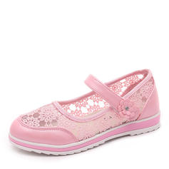 Girl's Round Toe Closed Toe Lace Flat Heel Flats Flower Girl Shoes With Velcro Flower