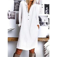 Jednolita Długie rękawy Koktajlowa Długośc do kolan Casual Koszula Sukienki