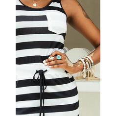 Striped Sleeveless Bodycon Above Knee Casual Tank Dresses