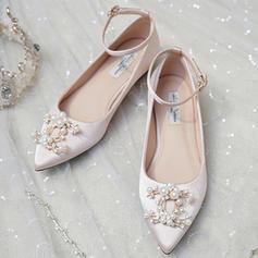 Femmes Satiné Talon plat Bout fermé Chaussures plates avec Pearl
