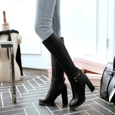 Donna Similpelle Tacco spesso Stivali Stivali al ginocchio con Rivet Fibbia Cerniera scarpe