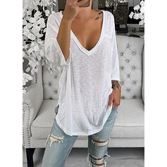 Solid V-Neck 3/4 Sleeves Casual T-shirts