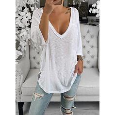 Sólido Cuello en V Mangas 3/4 Casual Camisetas