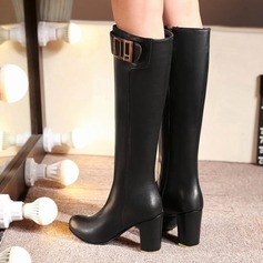Leatherette Chunky Heel Over The Knee Boots With Buckle shoes