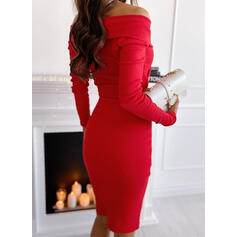 Solid Long Sleeves Bodycon Knee Length Little Black/Elegant Pencil Dresses