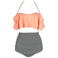 Kostice Vysoký pas Ke krku Sexy Plus mărimea Bikiny Costume de baie