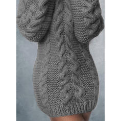 Einfarbig Lange Ärmel Figurbetont Über dem Knie Freizeit Pullover Kleider