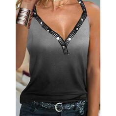 Gradient cekiny Dekolt w kształcie litery V Bez Rękawów Koszulki bez rękawów
