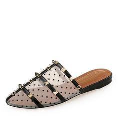Frauen Mesh Flascher Absatz Flache Schuhe Geschlossene Zehe Slingpumps Pantoffel mit Niete Schuhe