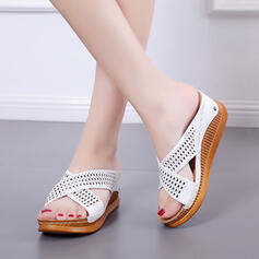 Women's Leatherette Wedge Heel Sandals Platform Peep Toe Slippers With Hollow-out shoes