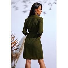 3/4 Sleeves A-line Knee Length Casual Skater Dresses